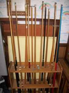 Pool Table With 16 Sticks, Balls And Stick Holder