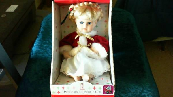 PORCELAIN COLLECTIBLE CHRISTMAS DOLL - $30