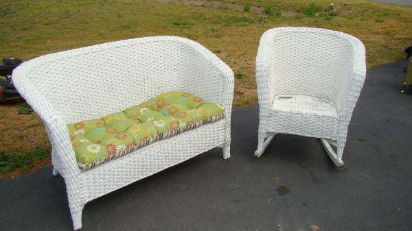 Porch Furniture White Wicker Fredericksburg For Sale