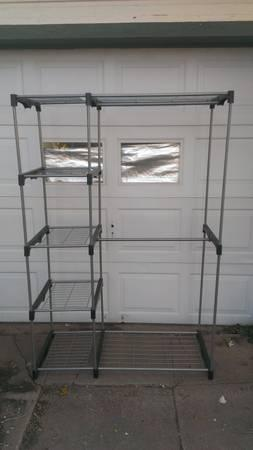 Portable Metal Closet With 2 Clothes Racks U0026 4 Shelves