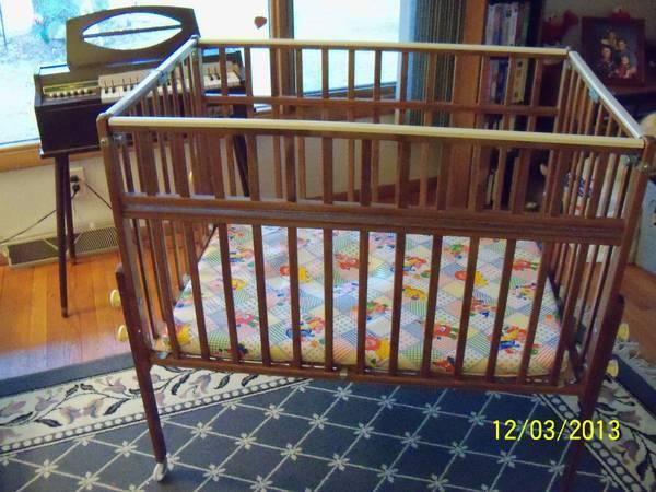 Portable Wooden Crib, and Wooden Rocking Chair for Sale in Sheboygan ...