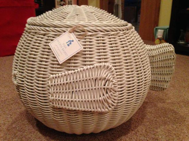 Pottertybarn White Wicker Baskets Fish Shaped 2