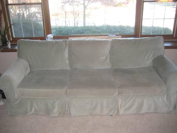 Pottery Barn Basic Down Sofa Velvet Slipcover For Sale
