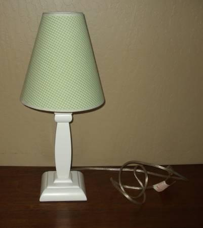 Pottery Barn White Wood Lamp Green Gingham Shade For