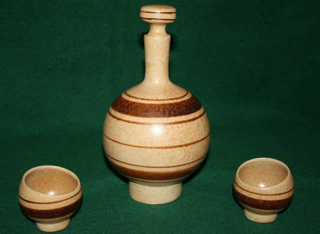 Pottery Flask and Cups