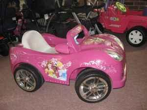 Power wheel riding toys princess car barbie jeep for Motorized barbie convertible car
