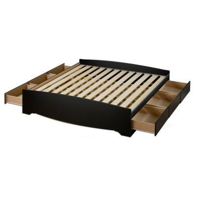 Prepac Sonoma Black King 6 Drawer Platform Storage Bed For