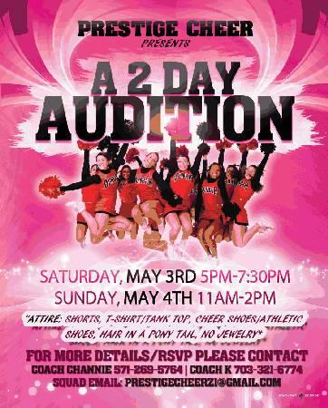 PRESTIGE CHEER AUDITIONS THIS WEEKEND!!!