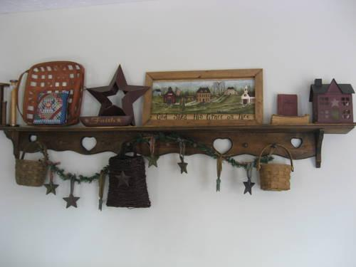 Primitive Decor Lot with Shelves and Baskets for Sale in