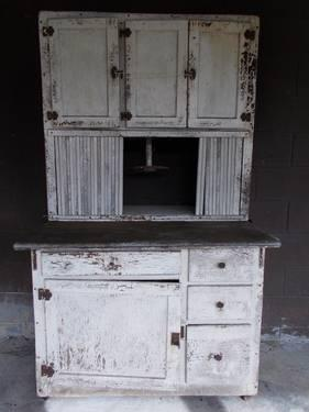 primitive farmhouse hoosier kitchen cabinet with zinc top