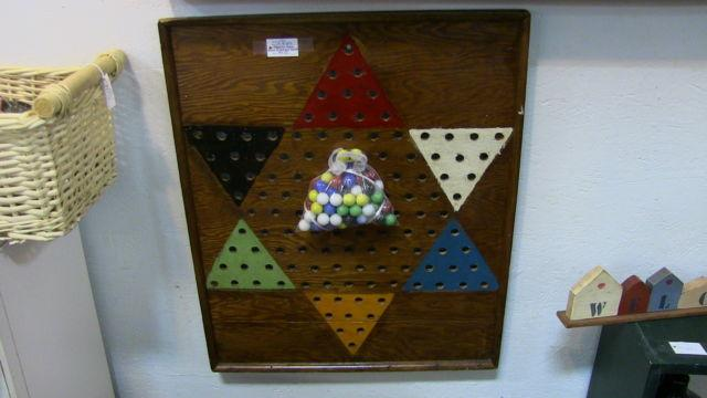 Primitive Gameboard with Antique Marbles