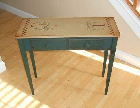 Astounding Primitive Wood Sofa Table With Stenciling 2 Drawers For Ibusinesslaw Wood Chair Design Ideas Ibusinesslaworg
