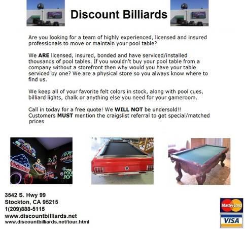 Professional Pool Table Service, Licensed & Insured!