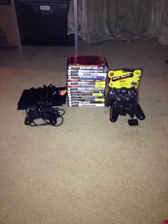 PS2 SLIM w/17 GAMES 3 Controllers TRADE