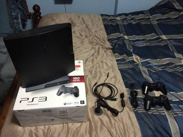 PS3 Slim with 120gb SSD with 2 controllers - $175