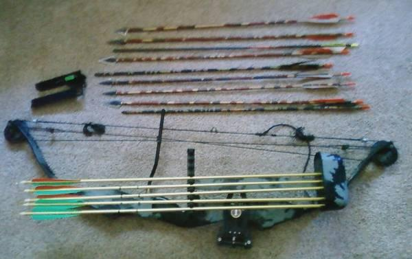 PSE Bow, sights, quiver, and arrows - $250
