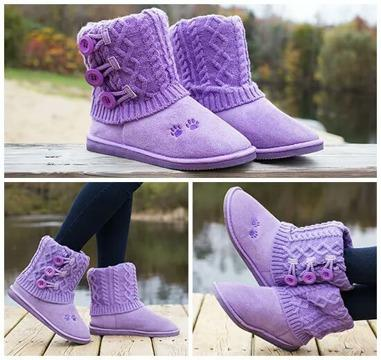 Purple mid rise boots