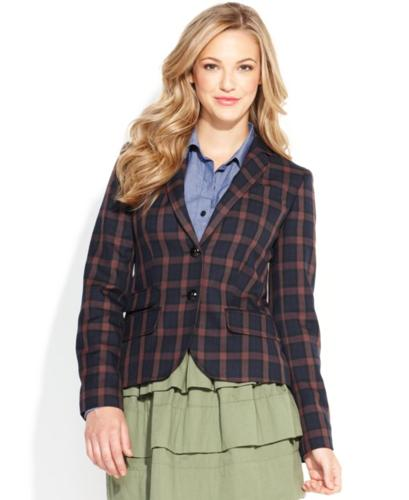 QMack Jacket, Long-Sleeve Plaid Blazer