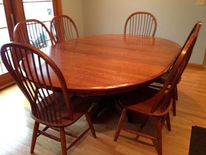 Quartersawn Oak Amish Dining Room Table And Chairs For