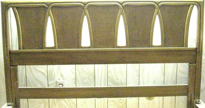 Queen Bed Wood Headboard Iron Metal Frame Mid Century Furniture Vintage Antique 1960s