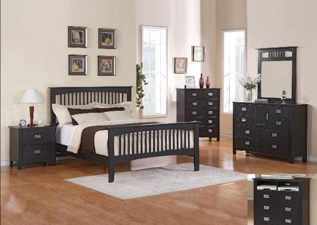 Queen Black Mission Bedroom Set-All NEW - (Augusta) for Sale in ...