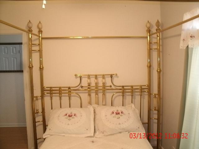 Queen Canopy Brass  Marble Bed Frame