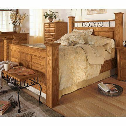 Queen Hb Fb And Rails Oak By Thornwood For Sale In