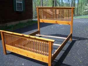 Queen size oak mission style bed front royal va for for Affordable furniture va winchester va