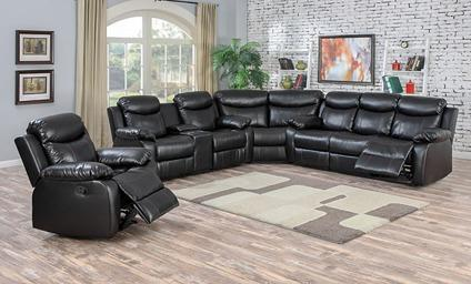 Racer Black Reclining Sectional-No Credit Needed