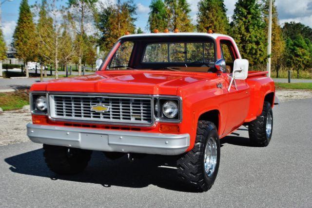 rare 1974 chevrolet custom 20 stepside classic pickup 4x4 for sale in lakeland florida. Black Bedroom Furniture Sets. Home Design Ideas