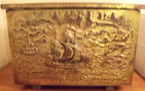 RARE ANTIQUE BRASS HAMMERED CHEST W/SHIP MOTIF