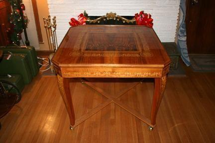 Rare Classic Antique Inlaid Wood Gaming Table Roulette - Rare Classic Antique Inlaid Wood Gaming Table Roulette + Poker +