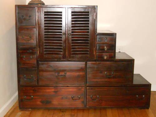 Rare Large Japanese Step Tansu Chest Camphor Wood Cabinet