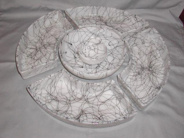 Rare Vintage Faux Marble Like Glass Divided Snack Tray