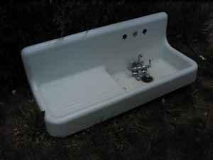 rare vintage cast iron farm sink drainboard sink lafayette for sale in boulder colorado. Black Bedroom Furniture Sets. Home Design Ideas