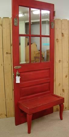 Reclaimed Antique Red Paint Mirror Door Hall Tree Bench