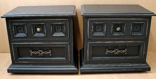 Reclaimed Black Paint Distressed End Accent Tables For