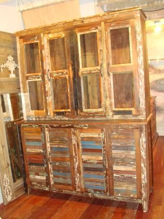 Reclaimed Wood Cupboard Bookcase Cabinet Multi Color Glass