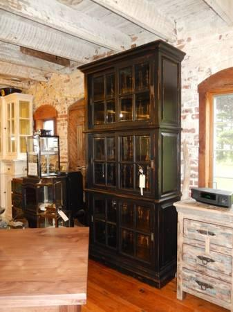 Reclaimed Wood Hardwood Bookcase Library Cabinet Storage