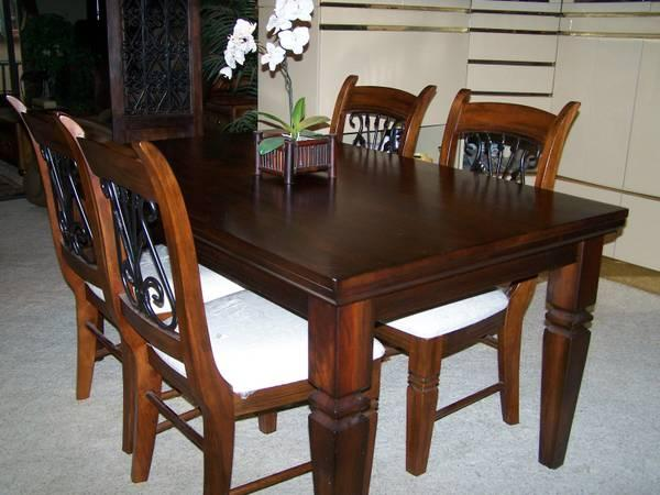 Rectangular Wood Wrought Iron Dining Room Kitchen
