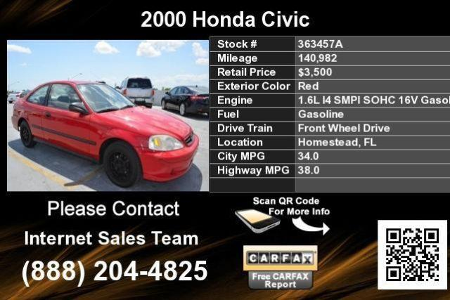 Red 2000 Honda Civic HX