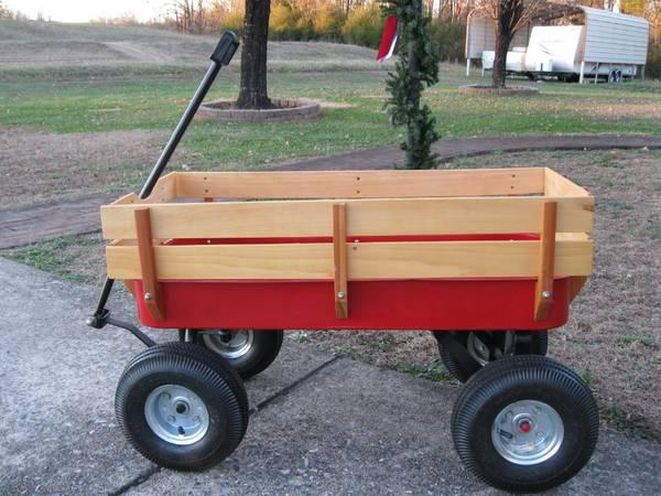 Red Wagon With Wood Side Rails For Sale In Shelby North