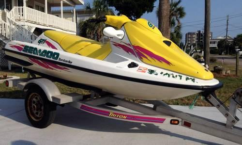 reduced 96 seadoo gti 3 seater jet ski pwc one owner w trailer for sale in atlantic beach. Black Bedroom Furniture Sets. Home Design Ideas
