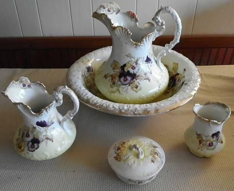 Reduced Again Five Piece Antique Bowl And Pitcher Set