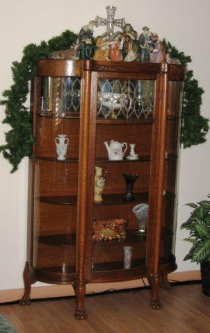 REDUCED Antique 1870-1880s Bow Front Glass China Cabinet