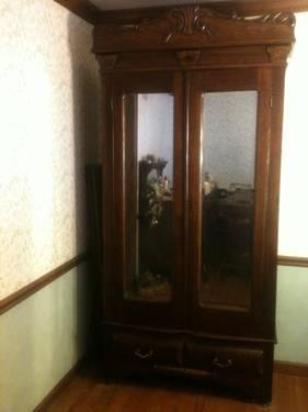Reduced Antique Oak Armoire Wardrobe For Sale In