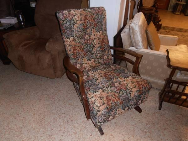 REDUCED Antique Upholstered Rocking Chair - $40 - REDUCED Antique Upholstered Rocking Chair - For Sale In Mobile