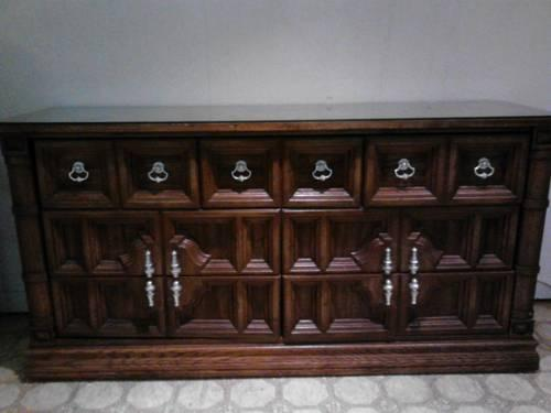 Reduced Dark Wood Antique Dresser With Refinished Handles For