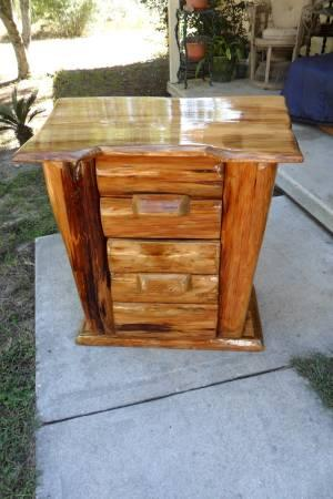 REDUCED! HANDCRAFTED WOOD LOG TABLE/DESK/DRESSER WITH 2