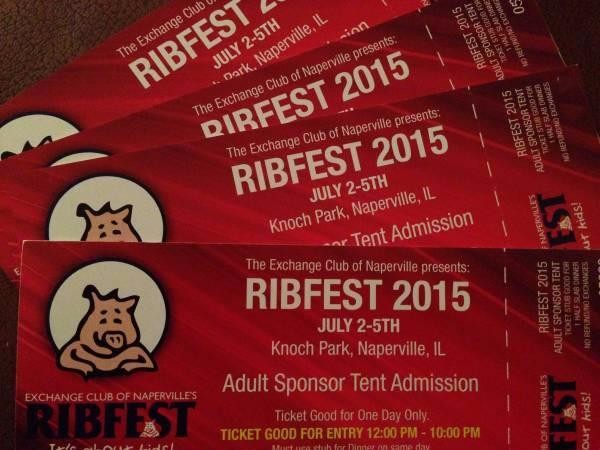 REDUCED! Ribfest VIP Sponsor Tix | Sammy Hagar, The